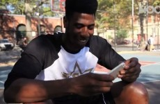 Knicks player Iman Shumpert dunks and destroys an iPhone 5