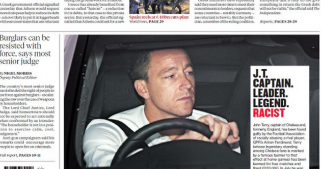 Friday's Independent (UK) front page describes John Terry as 'racist'