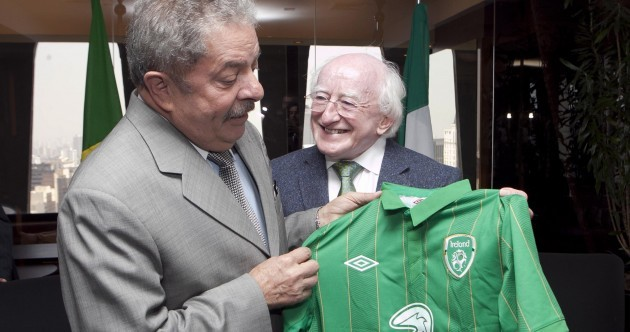 Pics: Higgins meets former Brazilian president, gives him Ireland jersey