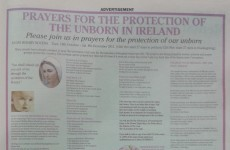 One-page pro-life ad calls for 'prayers for the protection of the unborn'