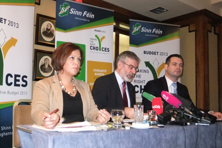 Mary Lou McDonald, Gerry Adams and Pearse Doherty at today's alternative budget launch.