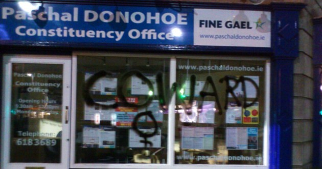 Paschal Donohoe's office graffitied after no vote