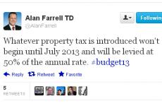 Property tax 'won't kick in until July', tweets Fine Gael TD