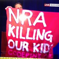 Pic: Protester disrupts National Rifle Association press conference