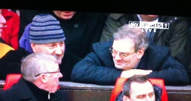 Alex Ferguson takes time out of watching United-Liverpool to make small talk with Angus 'Statto' Loughran