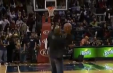 VIDEO: You won't believe what happened with this fan's half-court money shot