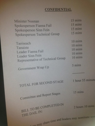Here's the schedule for the Dáil's late-night IBRC sitting