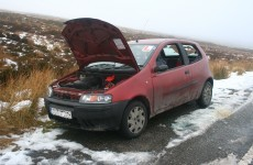 PICS: Cars stranded after icy conditions on the Sally Gap vandalised