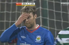 VIDEO: Linfield's Ryan Henderson missed this easy peno rebound in Tallaght tonight
