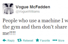 Tweet Sweeper:  Vogue McFadden is experiencing gym rage