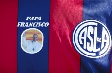 The Pope's local club, San Lorenzo, wore these special jerseys in honour of Francis I
