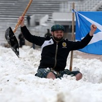 Scotland's fans are so desperate to see tonight's game they're clearing the pitch