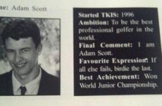 Adam Scott's high school ambition? To be the best golfer on the planet