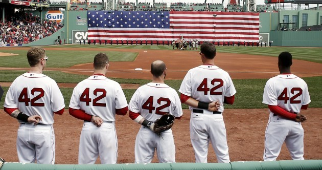 MLB baseball players are wearing #42 for Jackie Robinson Day