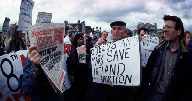 Flashback: Pro-life and pro-choice campaigners clash in 1992