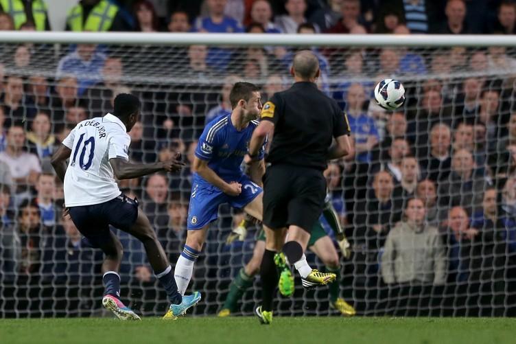Tottenham Hotspur's Emmanuel Adebayor scores his team's first goal.