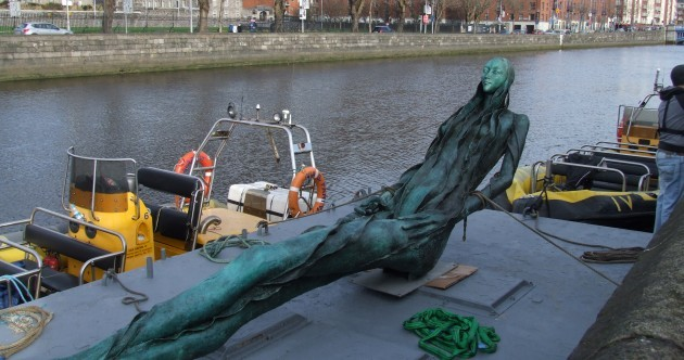 Anna Livia monument floats to a new home