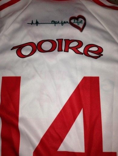 The Derry GAA jersey with Joe Brolly's 'Opt For Life' campaign slogan