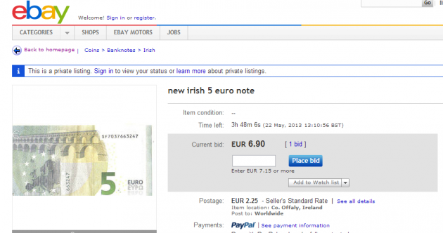 Want to buy a new fiver... for €6.90?