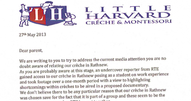 In letter to parents, creche 'does not accept general thrust' of RTÉ footage