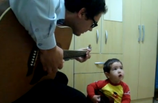 Dad and toddler perform über-cute Beatles duet