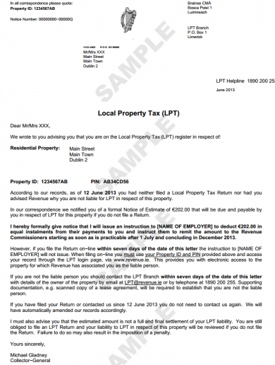 If you've not paid the property tax, Revenue is sending you this letter