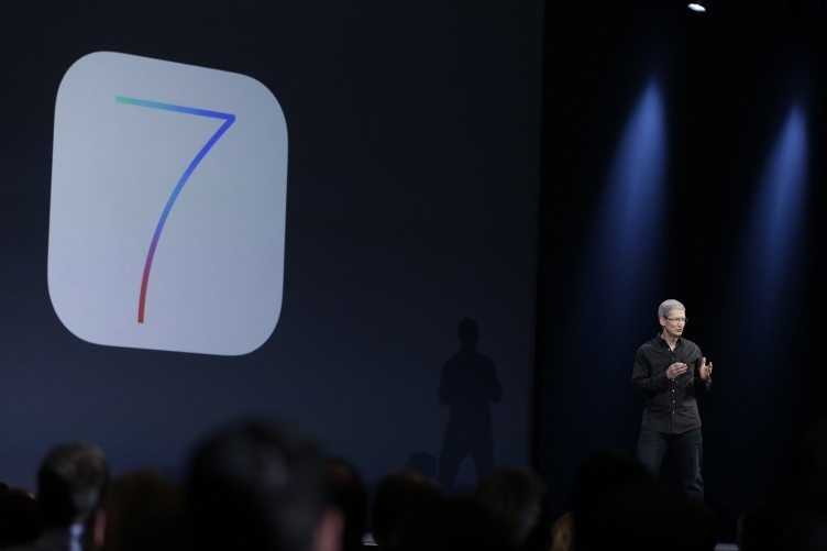Apple chief executive Tim Cook launches the new iOS 7 at a developers' conference in San Francisco.