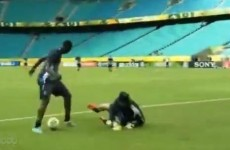 Mario Balotelli tries to take the mick out of Buffon in training, fails