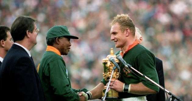 18 years ago, Mandela wore a Springbok jersey to present the Rugby World Cup