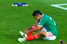 Mexican striker loses a boot... but plays on and scores