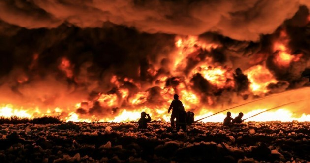 Over 150 firefighters tackle blaze in plastic factory