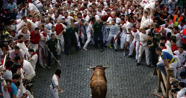 In pictures: The third Pamplona bull run with protests but minus gorings