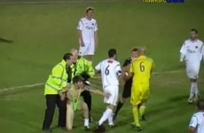 Watch: Player sees red after tackling streaker
