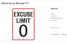 Dublin guy sells excuses for €2.99 on Adverts.ie