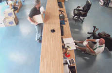 Irish guy mortifyingly falls off chair at work