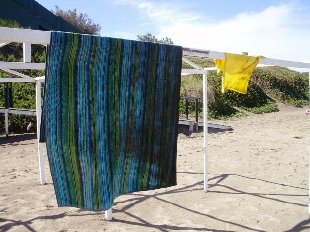 Wet and sandy towel