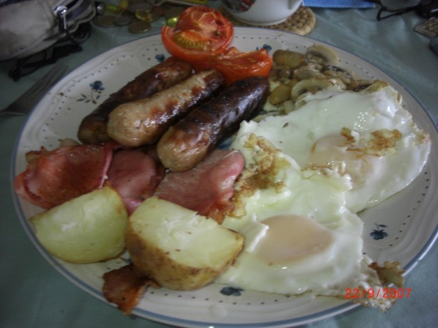 My European Breakfast. Danish Bacon, Irish Sausages and Potato,English Eggs, Polish Mushrooms and Dutch Tomatoes. Also known as the Cholesteral Special. Why is Cholesteral so delicious