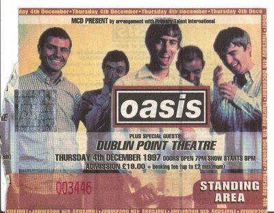 oasis ticket the point december 1997