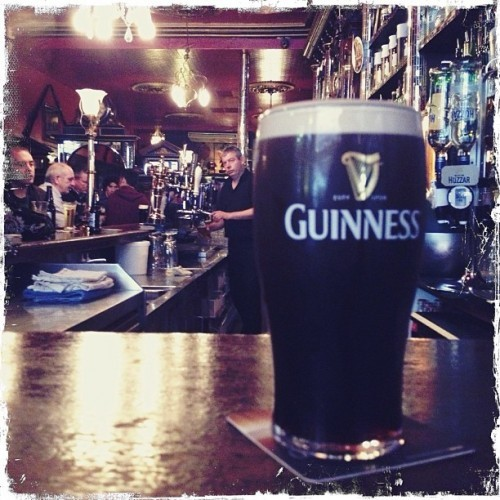 Perfect pint of Guinness at The Long Hall in Dublin.