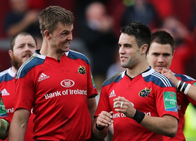 Dave Foley and Conor Murray celebrate after the game