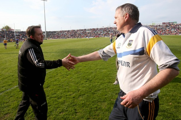 Davy Fitzgerald and Eamon O'Shea at the end of the game