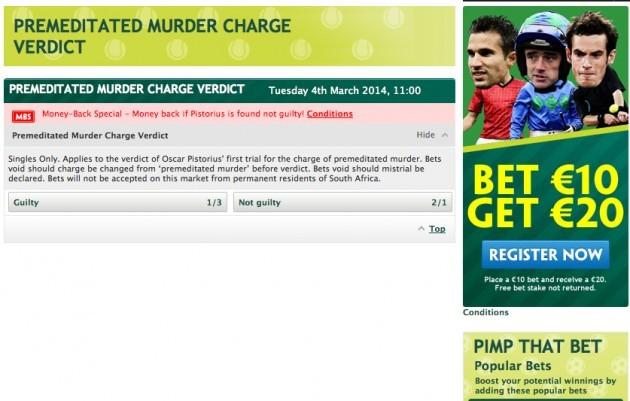 Paddy Power - Pistorious - Murder Verd