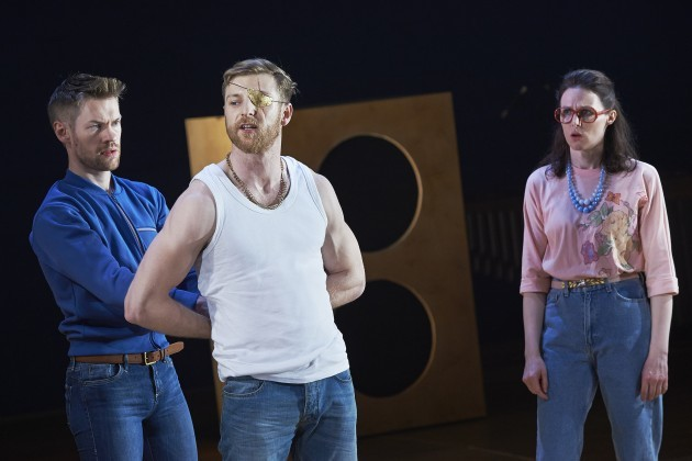 L-R  Muiris Crowley, Conor Madden and Elaine Fox in Abbey Theatre's new production of Twelfth Night by William Shakespeare.  Pic  Ros Kavanagh