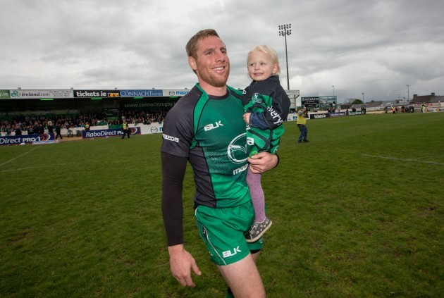 Gavin Duffy with his daughter Jessica after the game
