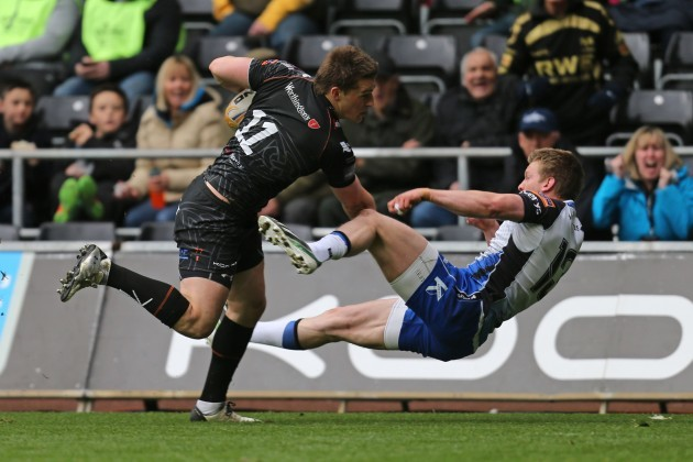 Jeff Hassler brushes off Eoin Griffin on his way to scoring a try