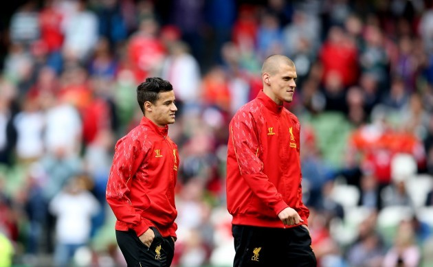 Philippe Coutinho and Martin Skrtel at the game
