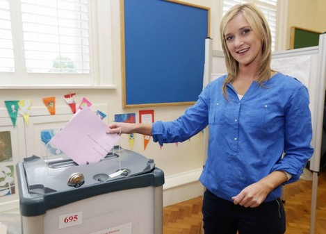 Kate Feeney votes. Fianna Fail candida
