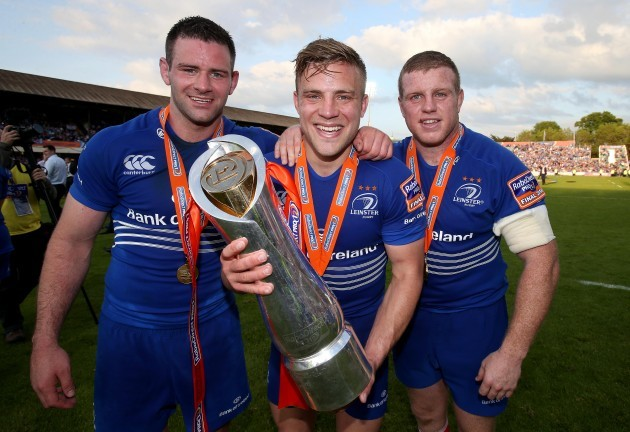 Fergus McFadden, Ian Madigan and Sean Cronin celebrate winning