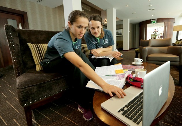Dora Gorman and Ciara Grant studying for their third year medical exams