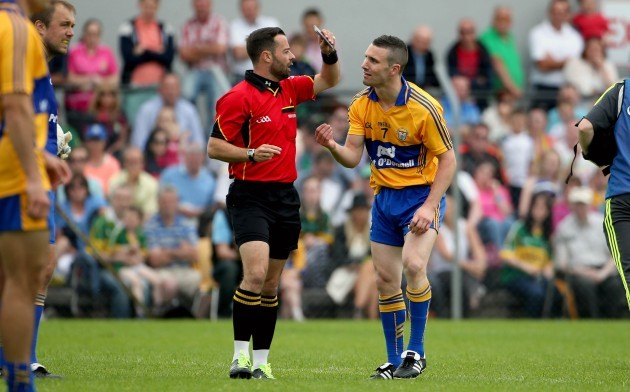Shane Hickey is black carded by referee David Gough